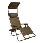 Bliss Hammocks Zero Gravity Chair Sun Shade Canopy and Drink Tray